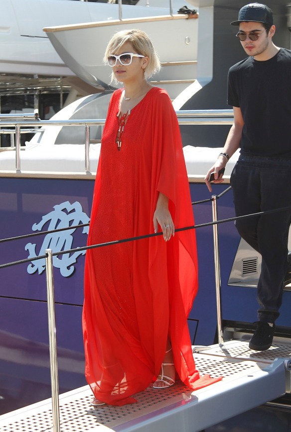 Rita Ora leaves Cavalli's boat during the 67th Cannes Film Festival